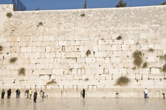 Prayers and tourists near Jerusalem wall Stock Photos