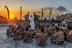 Prayers Uluwatu Kecak and Fire Dance, Bali, Indonesia Stock Images