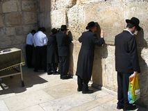 Prayers at the Wailing Wall Royalty Free Stock Photos