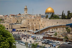 Prayers at the Western Wall and the Dome of the Rock in the old Stock Photo
