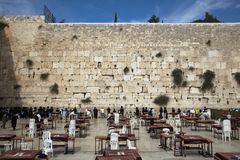 Prayers at the Wailing Wall Royalty Free Stock Photography