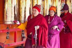 Prayers whirling prayer wheel in the Sertar buddhish college Stock Photography