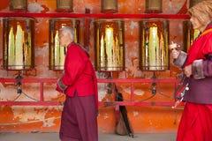 Prayers whirling prayer wheel in the Sertar buddhish college Royalty Free Stock Photo