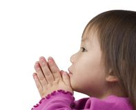 Praying. A young girl prays at the table Stock Photos