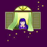 Praying. A vector illustration for a little girl is praying beside the window and some firefly outside Stock Photography