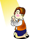 Praying. A vector illustration for a little boy is kneeling for praying and a light is shine on him Stock Photos
