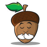 Praying acorn cartoon character style Stock Image