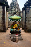 Praying altar of Bayon temple part of Angkor Wat ancient ruin, Cambodia. Royalty Free Stock Photos