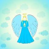 Praying Angel in Blue Sky Royalty Free Stock Image
