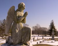 Praying Angel in cemetery. Angel sculpture grave marker royalty free stock image