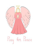 Praying Angel and Lettering. Praying Female Angel and Lettering in Pink Colors. Vector EPS 10 Stock Images
