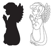 Praying Angel. Silhouette and contour drawing. Vector clip art royalty free illustration