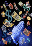 Praying For Australian Money Stock Photo