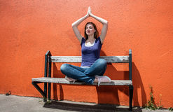 Free Praying Beautiful Girl Enjoying Relaxing On Bench In Yoga Position Royalty Free Stock Image - 75866686