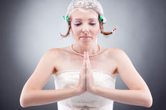 Praying beautiful romantic bride Royalty Free Stock Photo