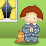 Praying Boy vector illustration