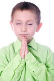 Praying Boy. Christian Child praying isolated on white background Royalty Free Stock Images