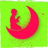 Praying boy with moon for Ramadan Kareem celebration. Stock Photography