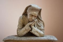 Praying Catholic Nun - Bust Sculpture in Plaster, Rome royalty free stock photography