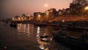 Praying ceremony by Ganges River in Varanasi India stock video