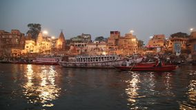 Praying ceremony by Ganges River in Varanasi India stock footage