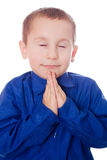 Praying child. Christian Child praying isolated on white background Royalty Free Stock Photography