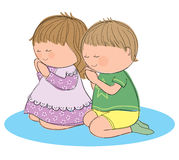 Praying children. Hand drawn picture of two children praying. Illustrated in a loose style. Vector eps available Royalty Free Stock Photography