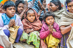 Praying children in Bihar Royalty Free Stock Image
