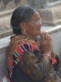 Praying com mãos dobradas Imagens de Stock Royalty Free