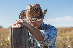 Praying cowboy royalty free stock photography