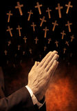 Praying Crosse Religion  Royalty Free Stock Photos