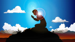 Praying At Dawn. Illustration of a man kneeling on a rock while praying, with the morning sun shining behind casting light and shadow in all directions stock illustration