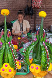 Praying decoration maker at Annual Lumpini Cultural Festival Royalty Free Stock Image