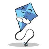 Praying face blue kite character cartoon Stock Photos