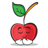 Praying face cherry character cartoon style Royalty Free Stock Photos