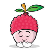 Praying face lychee cartoon character style Royalty Free Stock Photo