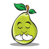Praying face pear character cartoon Stock Photos