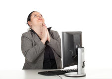 Praying fat businesswoman Royalty Free Stock Photography