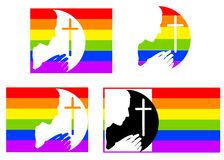 Praying Gay Pride Flags. An illustration featuring your choice of 4 images with gay pride flag stripes and silhouette of person praying with cross royalty free illustration