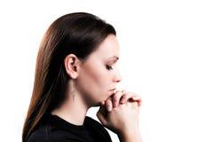 Praying Girl. On White Background Royalty Free Stock Photo
