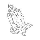 Praying hand line art. Vector illustration Royalty Free Stock Images