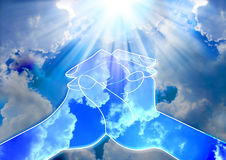Praying hands. Made of cloud in the sky royalty free stock photo