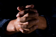 Praying hands. A shot of old man praying hands Royalty Free Stock Photos