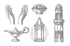 Praying Hands, arabic lamp,dates fruit, minaret and Aladdin lamp. Two Praying Hands, minaret, arabic hanging lamp with chain, Aladdin magic lamp and dates fruit Royalty Free Stock Image
