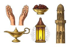 Praying Hands, arabic lamp,dates fruit, minaret and Aladdin lamp. Two Praying Hands, minaret, arabic hanging lamp with chain, Aladdin magic lamp and dates fruit Stock Photos