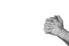 Praying hands. Black and white. Isolated on white background Stock Photos