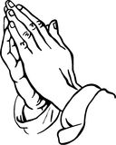 Praying Hands. Black and white line drawing illustration of male praying hands vector illustration