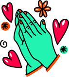 Praying Hands Cartoon Doodle Stock Photo
