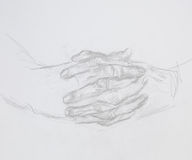 Praying hands, drawing Royalty Free Stock Photos