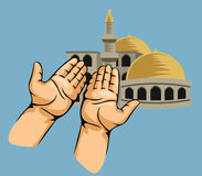 Praying hands in front of mosque. Vector illustration of praying hands in front of mosque Royalty Free Stock Photo
